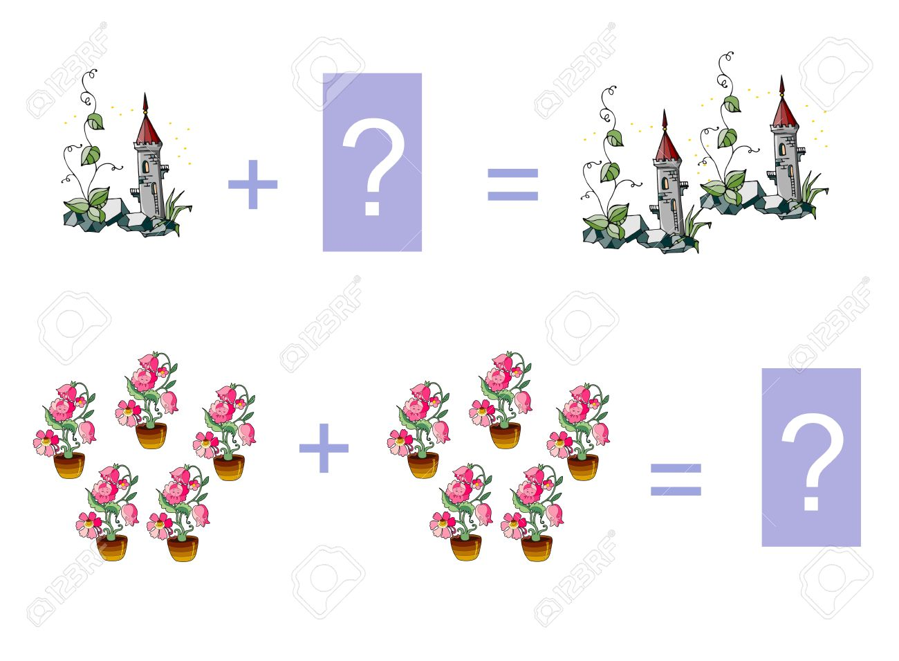 Cartoon Illustration Of Mathematical Addition. Examples With.