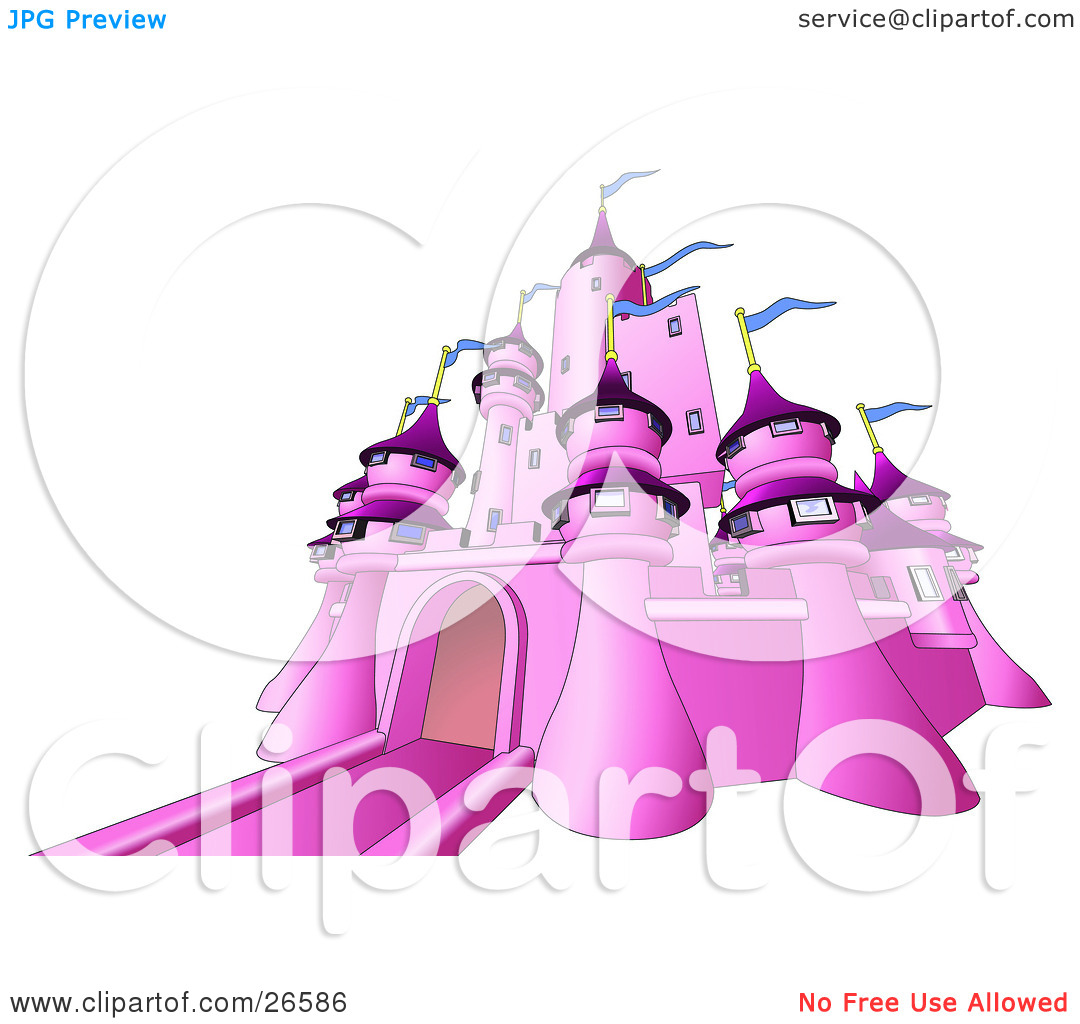 Clipart Illustration of a Pink Fairy Tale Castle With Blue Flags.