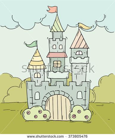 Cute Cartoon Castle Prince Princess Towers Stock Vector 348083552.