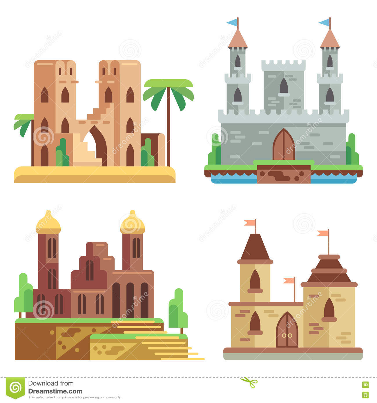 Castles And Fortresses Flat Vector Icons Set. Cartoon Fairy.