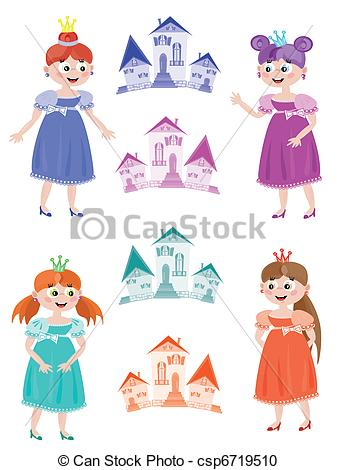Vector Clipart of Fairy or princess with towers, set.