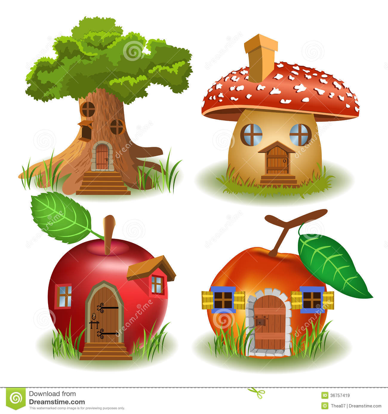 Fantasy Fairytale Miniature House In Tree Royalty Free Stock.