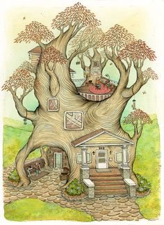 fairy tree house coloring pages.