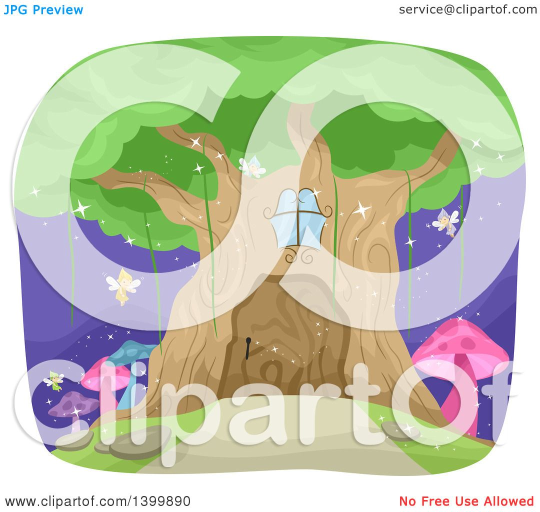 Clipart of a Magical Fairy Tree House.
