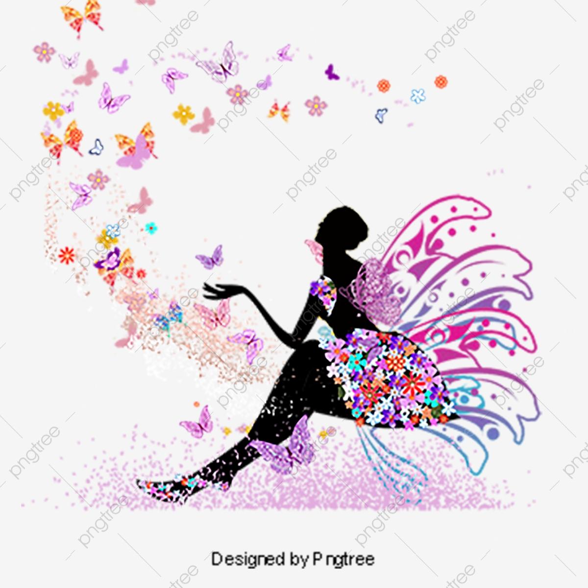 Butterfly Fairy, Purple Butterfly Fairy, Butterfly Vector, Fairy.