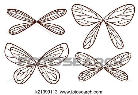 Simple sketches of fairy wings Clipart.