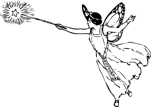 Fairy With Wand clip art Free vector in Open office drawing svg.