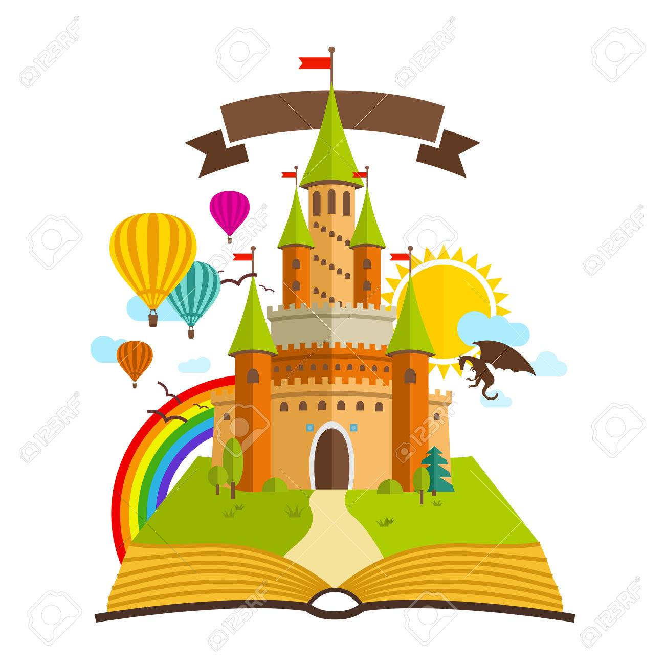 Fairy Tale castle. Vector Illustration with Book, dragon, sun,...