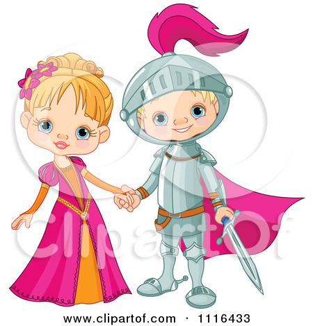 Clipart of a Pretty Blond Fairy Tale Princess in a Pink Dress.