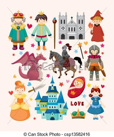 Fairy Tale Characters Clip Art Vector.