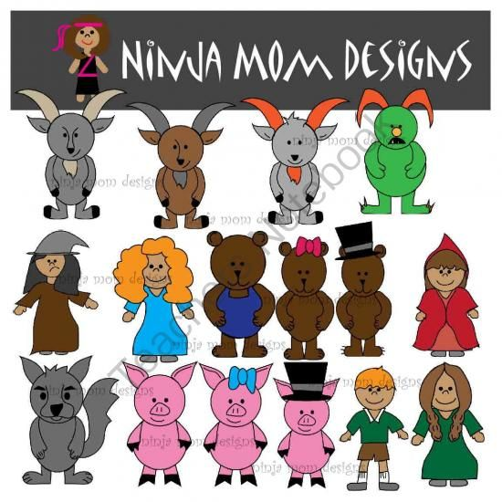Fairy Tale Characters Clip Art in Color and Black Line from Ninja.