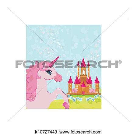 Clipart of Fairytale landscape with pink magic castle and unicorn.