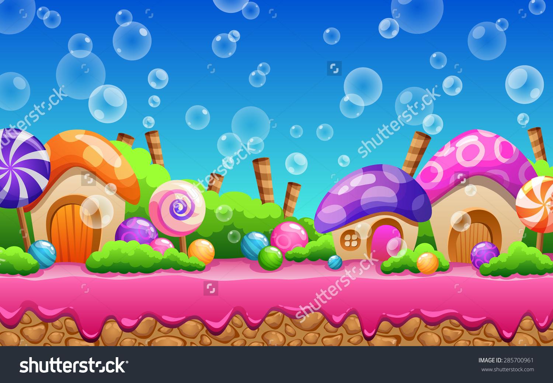 Cartoon Fairy Tale Landscape Candy Land Stock Vector 285700961.