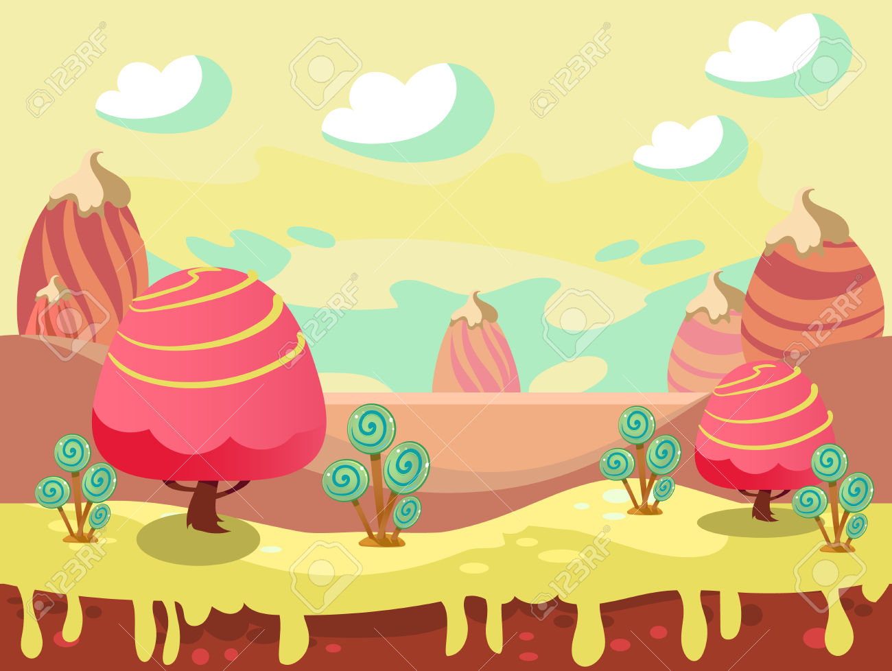 Cartoon Fairy Tale Landscape. Candy Land Illustration For Game.