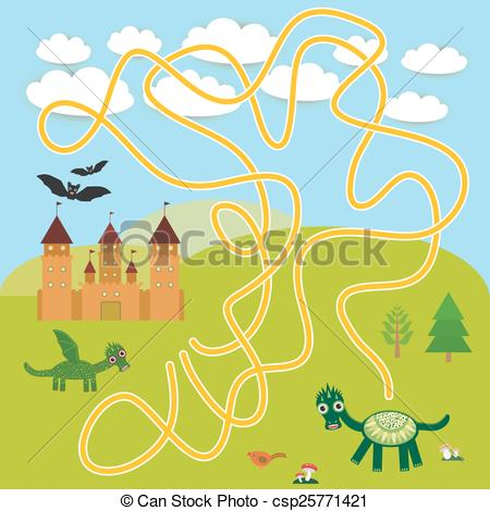 Vector Illustration of labyrinth game With Castle, fairytale.