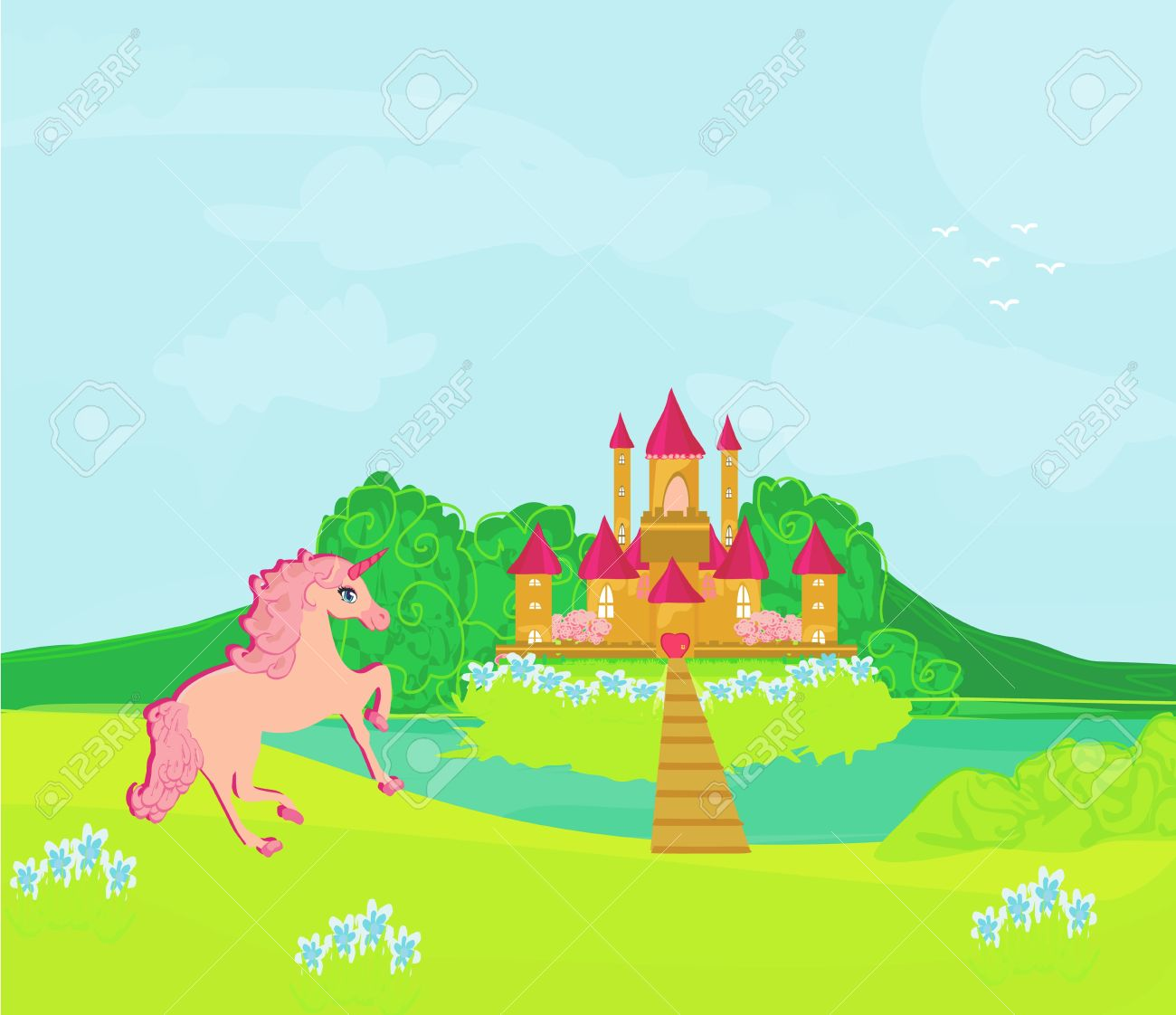 Fairytale Landscape With Magic Castle And Pink Unicorn Royalty.