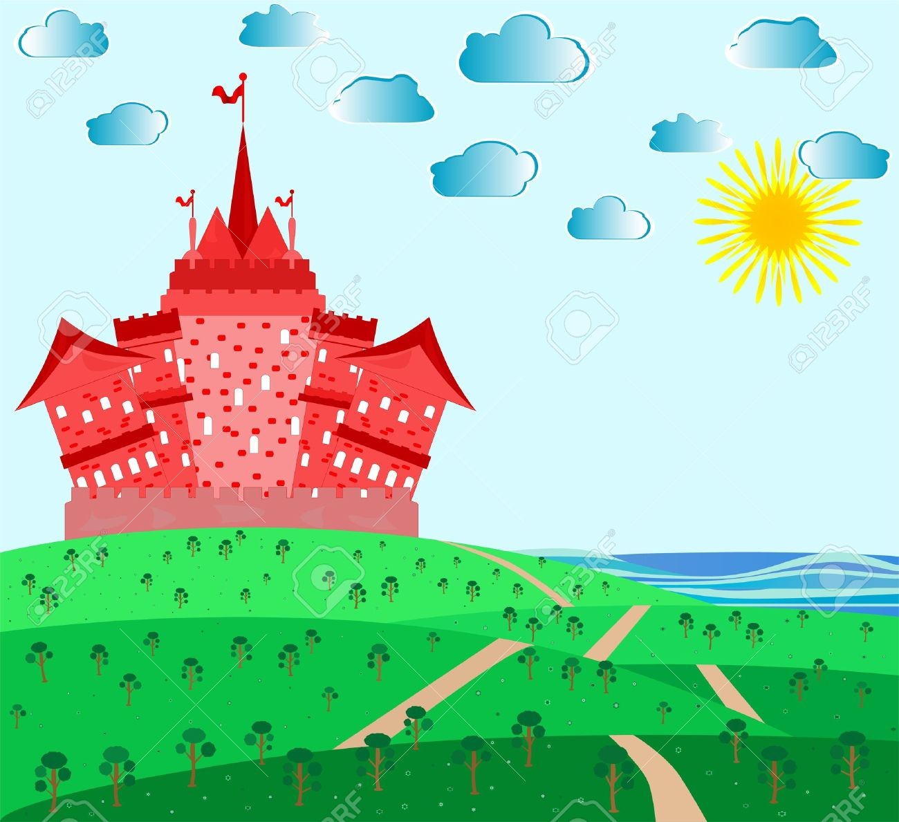 Fairytale Landscape With Red Magic Castle Royalty Free Cliparts.