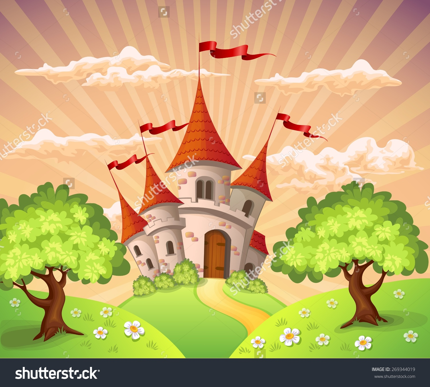 Fairytale Landscape Castle Stock Vector 269344019.
