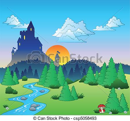 Vectors of Fairy tale landscape 1.