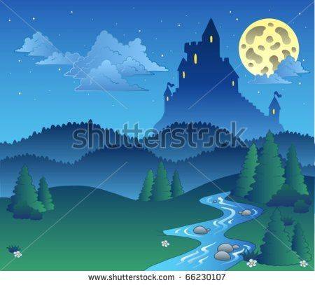 Fairy tale landscape at night 1.
