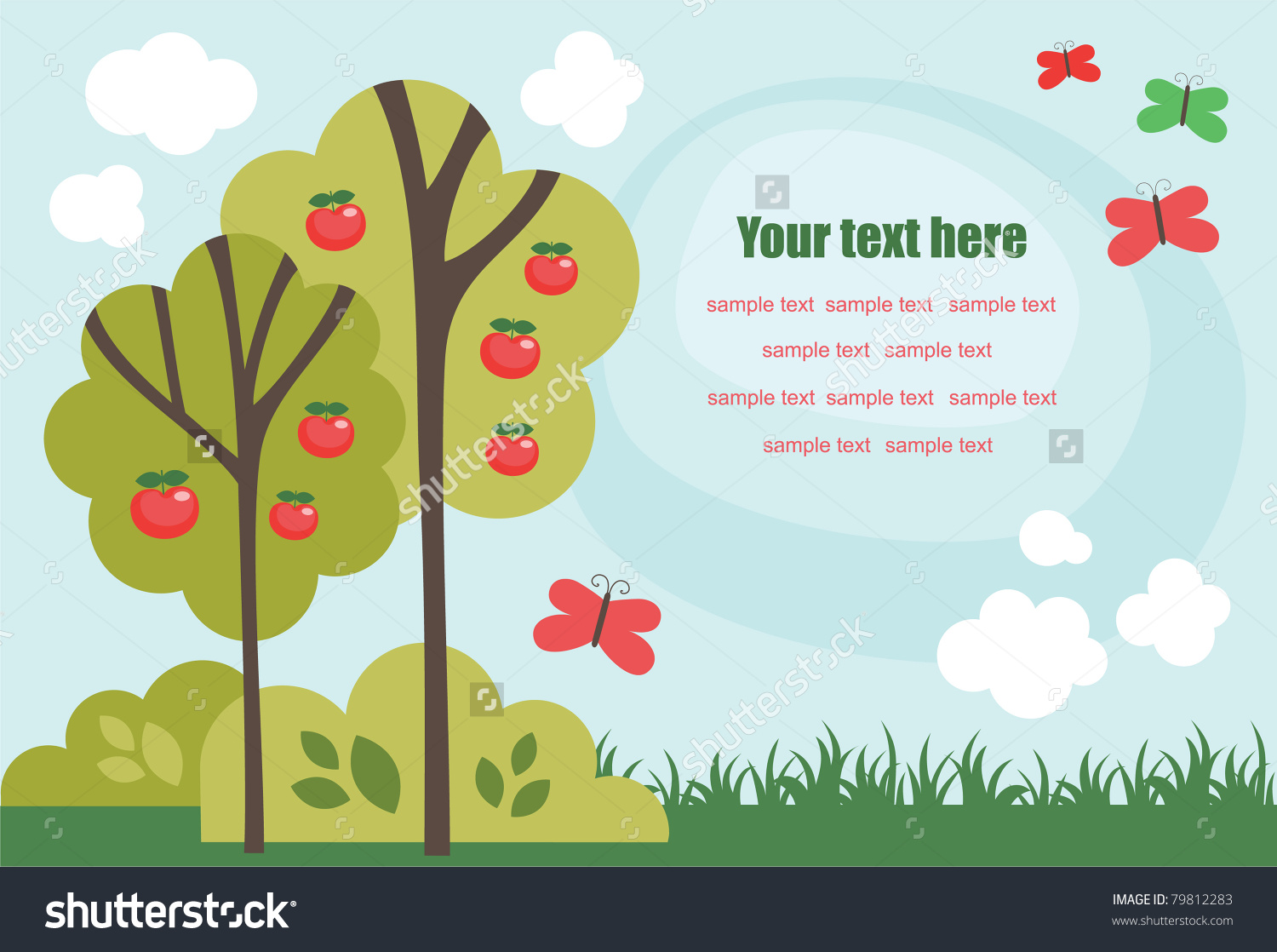 Cute Fairytale Landscape. Vector Illustration.