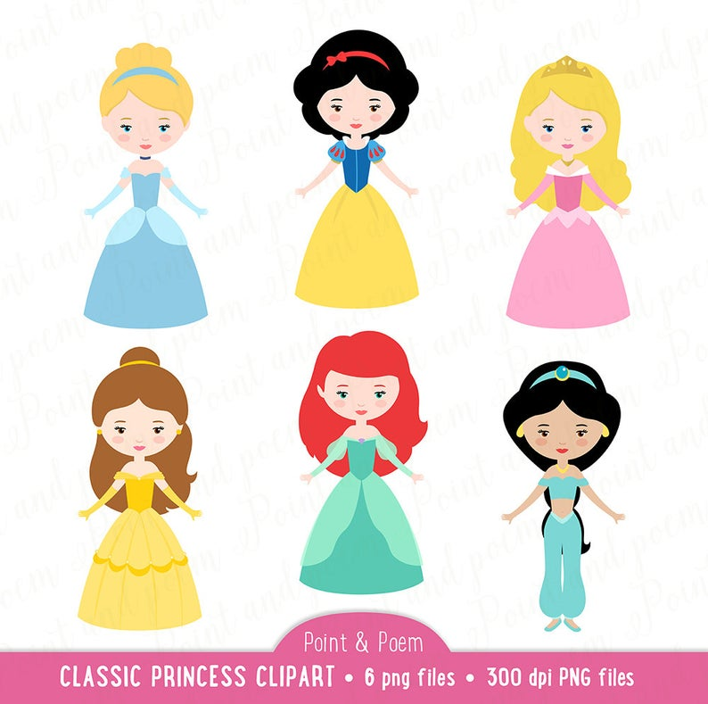Princess Clip Art, Fairytale Princess clipart, Little Princess, PNG  Cindarella, Snow White, Bella, Party.