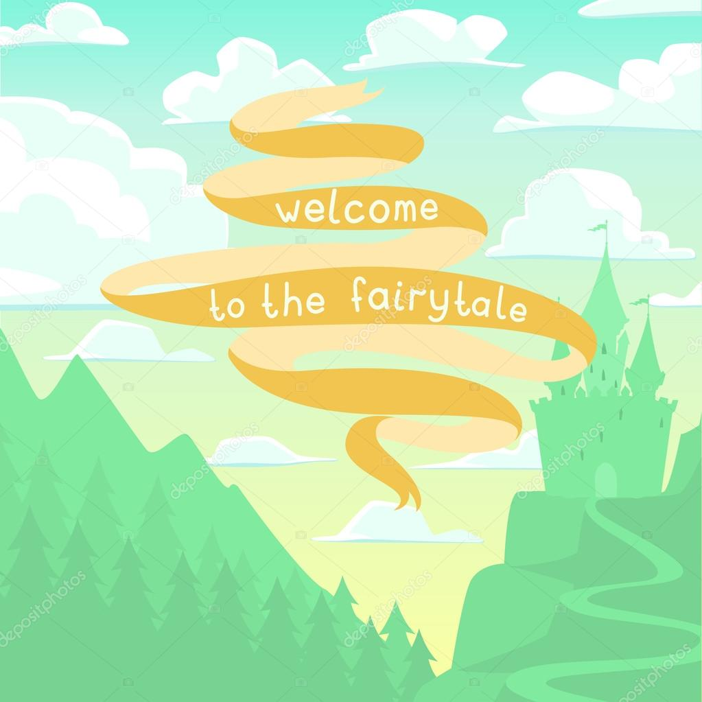 Vector square cartoon background with castle on the hill and.
