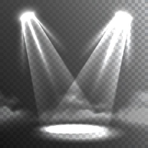 Deux faisceaux de lumières blanches se rencontrent.