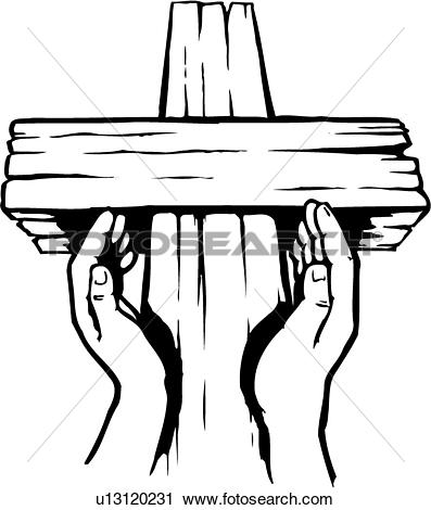Clipart of illustration, lineart, hands, faith, religion cross.