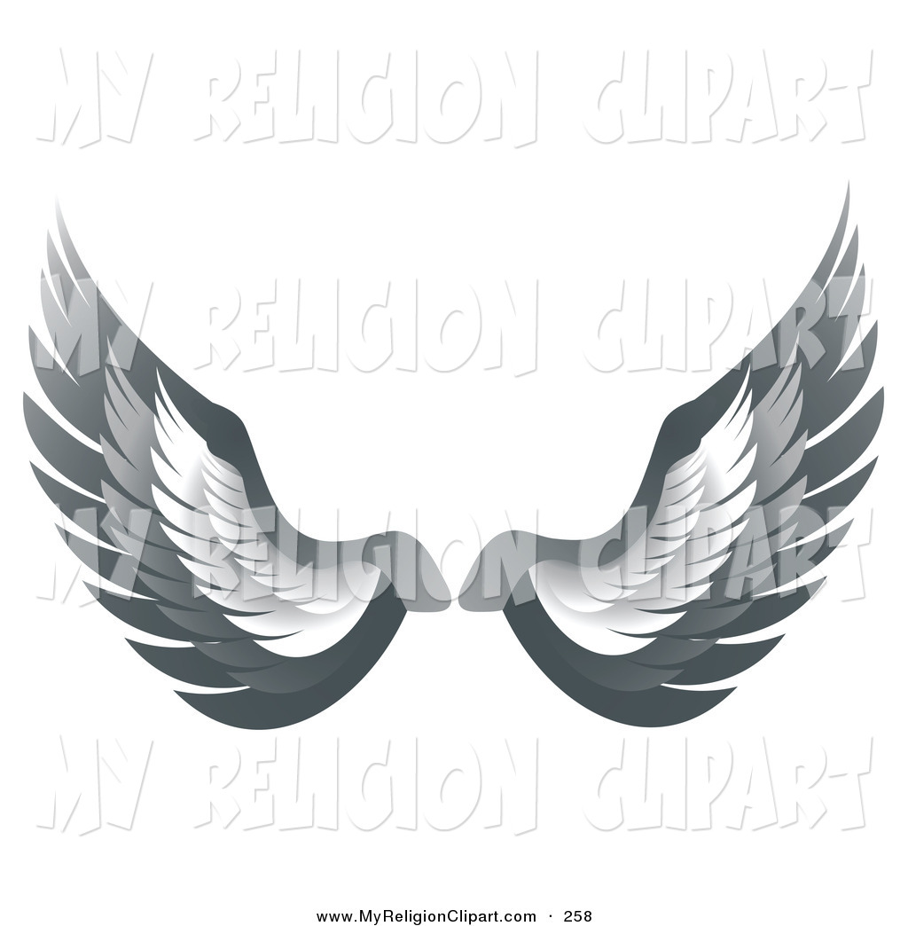 Religion Clip Art of a Set of Gray Bird or Angel Wings.