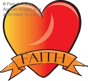 Clip Art Illustration of a Heart With a Faith Ribbon.