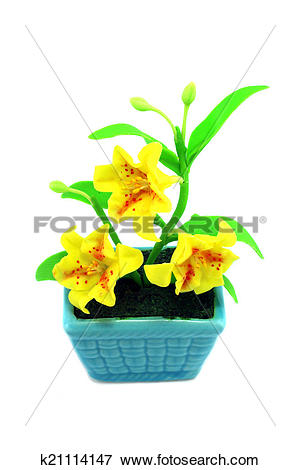 Picture of Yellow fake flowers in the vase k21114147.