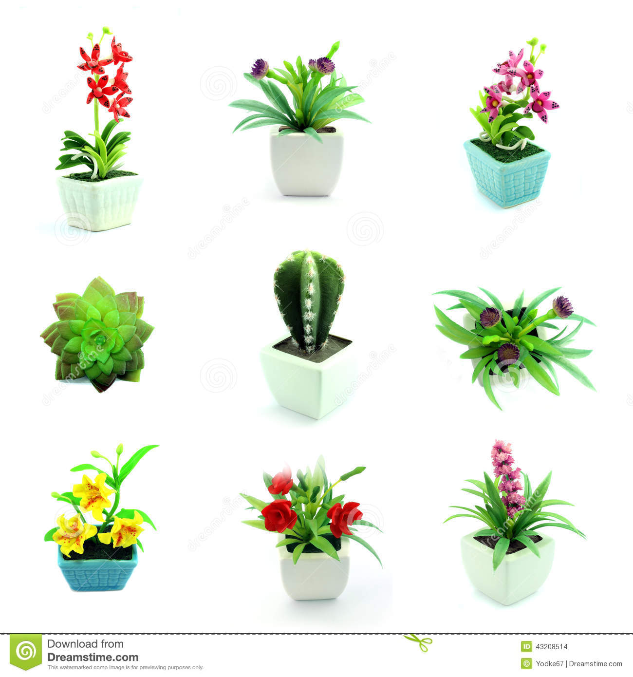 Group Of Fake Flowers In The Vase Stock Photo.