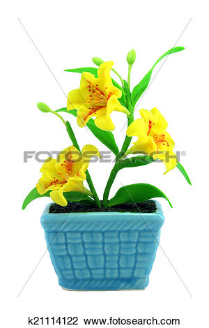 Stock Photo of Yellow fake flowers in the vase k21114122.