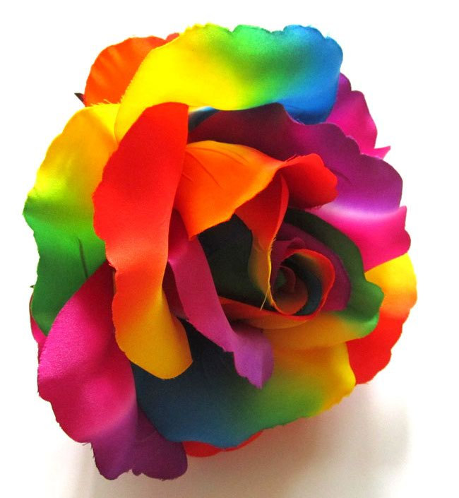 2X HUGE Rainbow Roses Artificial Silk Flower by FayFlowerShop.