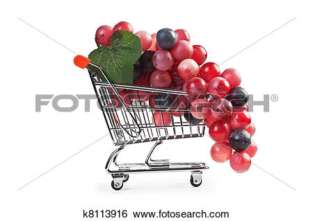 Stock Images of bunch of grapes in shopping carts, fake k8113916.