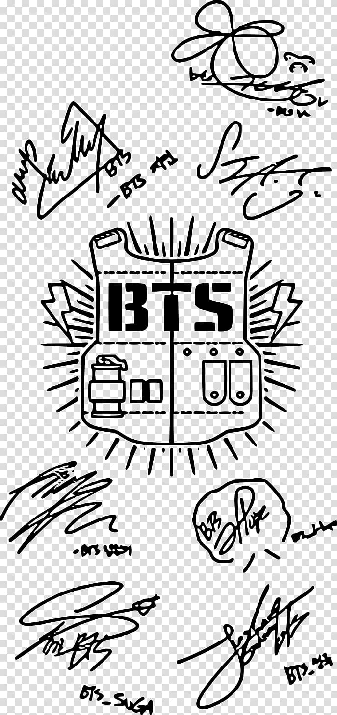 BTS signatures illustration, BTS Army K.