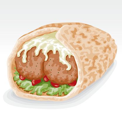 Falafel Clip Art, Vector Images & Illustrations.