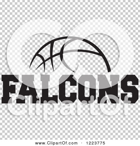 Clipart of a Black and White Basketball with FALCONS Text.