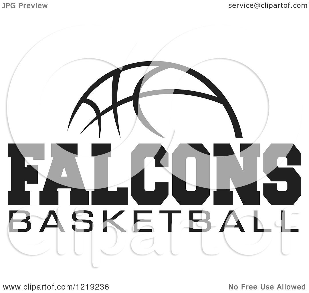 Clipart of a Black and White Ball with FALCONS BASKETBALL Text.
