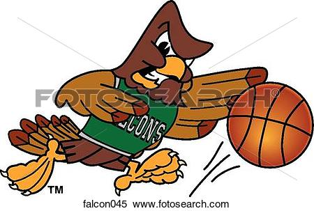 Stock Illustration of Falcon playing Basketball with angry face.
