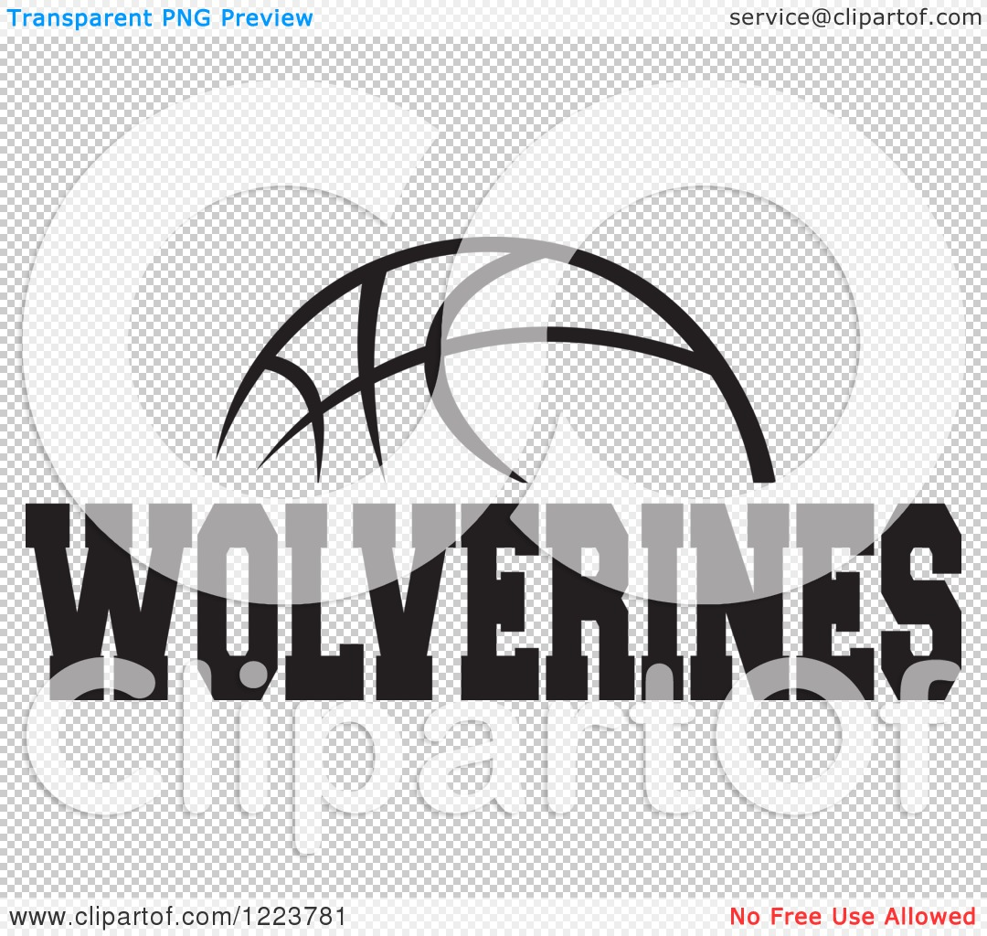 Clipart of a Black and White Basketball with WOLVERINES Text.