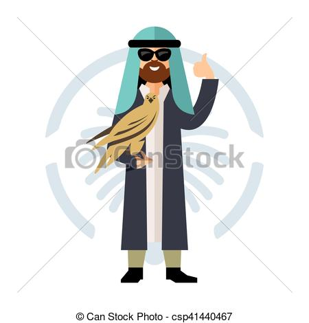 Clip Art Vector of Vector Falconry in the Middle East. Flat style.
