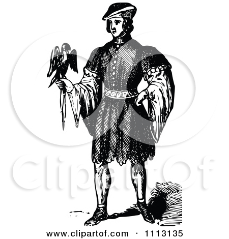 Vintage Black And White Elizabethan Man With A Bird Posters, Art.