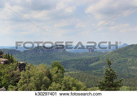 Stock Photography of Group of rocks Schrammsteine and Falkenstein.