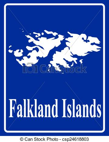 Vector Clipart of silhouette map of Falkland Islands.