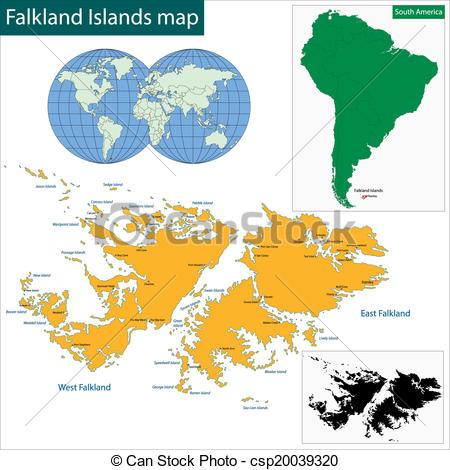 Vector Illustration of Falkland Islands map.