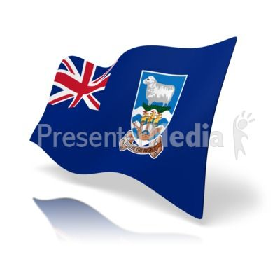 This clip art image shows the Falkland Islands flag at a.