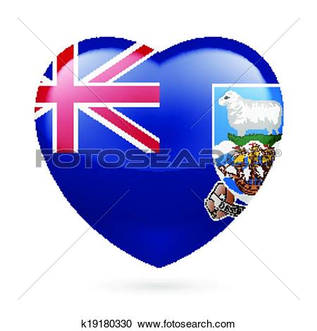 Clipart of Heart icon of Falkland Islands k19180330.