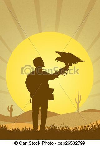 Stock Illustration von Falknerei, Wüste.